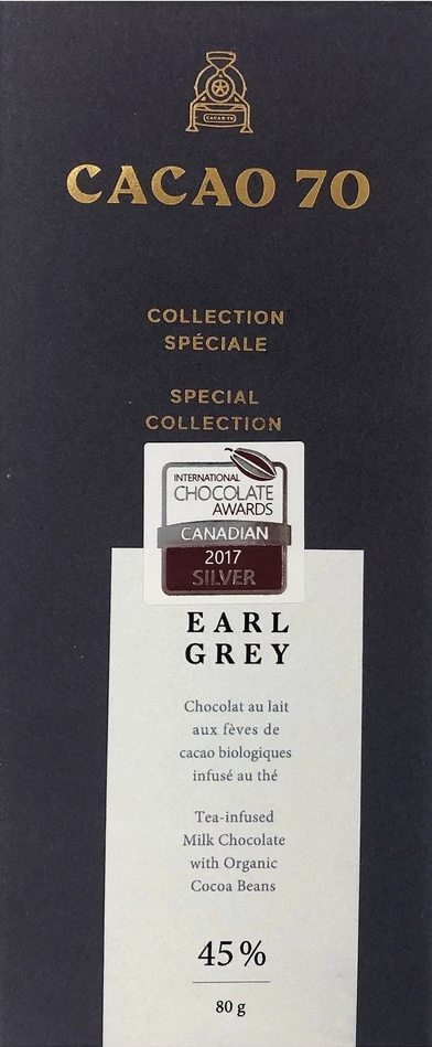 Cacao 70 Earl Grey Dark Milk 45%  has received a Gold Award in America Foods Awards 2020, awarded by America-Newspaper.com.